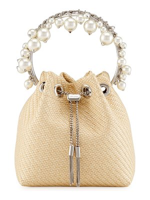 Jimmy Choo Bon Bon Pearly Straw Bucket Bag