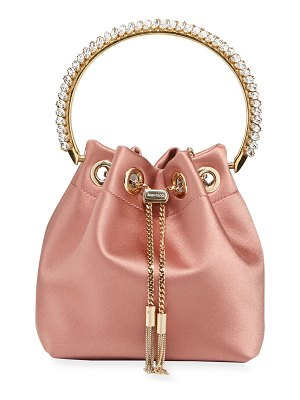 Jimmy Choo Bon Bon Satin Top Handle Bag with Crystals