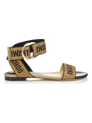 Jimmy Choo BREANNE FLAT Black Nappa Leather Sandals with Nude and Black Logo Tape