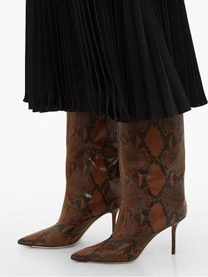Jimmy Choo brelan 85 python effect leather knee high boots