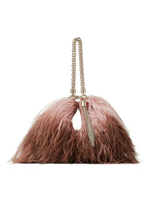 Jimmy Choo CALLIE Blush and Toffee Dégradé Ostrich Feather-Trimmed Leather Clutch Bag