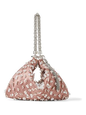 Jimmy Choo CALLIE Blush Satin Clutch Bag with Pearl and Sequin embroidery
