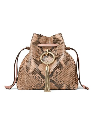 Jimmy Choo CALLIE DRAWSTRING/S Ballet-Pink Python Bucket Bag with Chain Strap