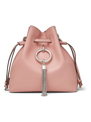 Jimmy Choo CALLIE DRAWSTRING/S Blush Smooth Calf Leather Bucket Bag with Chain Strap