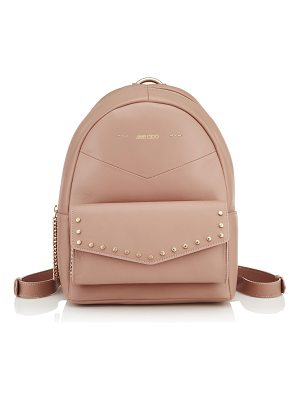 Jimmy Choo CASSIE Ballet Pink Nappa Leather Backpack with Gold Round Stud Detailing