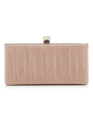 Jimmy Choo CELESTE/S Ballet Pink Suede with Gold Glitter Tulle Clutch Bag with Cube Clasp