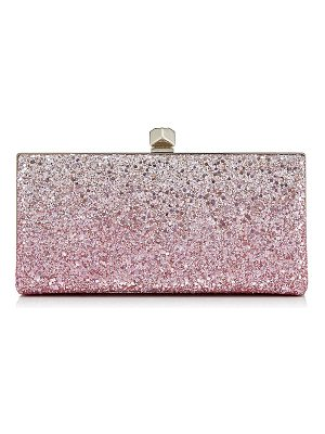 Jimmy Choo CELESTE/S Flamingo and Platinum Ice Glitter Dégradé Fabric Clutch Bag