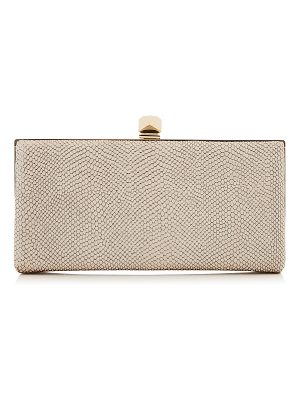 Jimmy Choo CELESTE/S Nude Printed Metallic Leather Clutch Bag