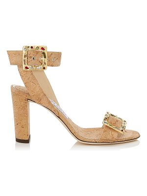 JIMMY CHOO Dacha 85 Natural Cork Sandals With Jewelled Buckle