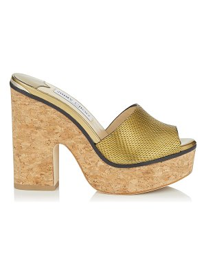 Jimmy Choo DEEDEE 125 Gold Net Embossed Liquid Mirror Leather Sandal Wedge