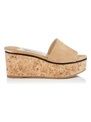 JIMMY CHOO Deedee 80 Camel Suede Sandal Wedges