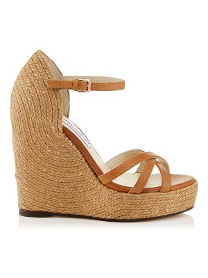 Jimmy Choo DELANEY 125 Tan Vachetta Leather Wedges with Braided Rope Detailing