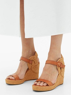 Jimmy Choo delphi espadrille-sole leather wedge sandals