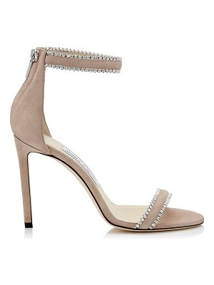 Jimmy Choo DOCHAS 100 Ballet Pink Open Toe Sandal with Jewel Trim