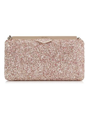 Jimmy Choo ELLIPSE Rosewood Mix Clutch Bag in Painted Glitter Fabric