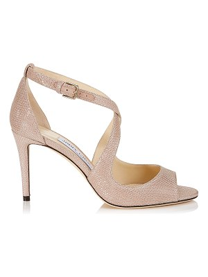 Jimmy Choo EMILY 85 Ballet Pink Glitter Mesh on Suede Sandals