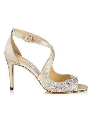 Jimmy Choo EMILY 85 Ballet Pink Sandal with Sprinkled Crystals on Satin