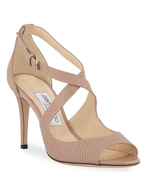 Jimmy Choo Emily Net-Embossed Patent Sandals