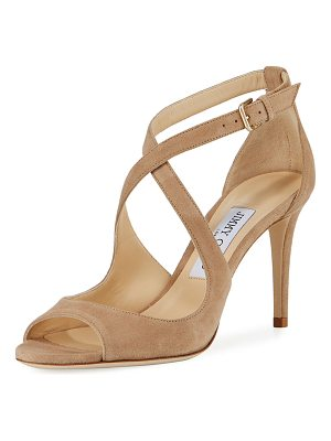 JIMMY CHOO Emily Suede Crisscross 85mm Sandal