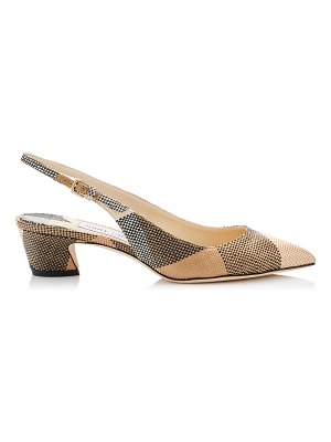 Jimmy Choo GEMMA 40 Black and Caramel Check Raffia Sling Back Pumps