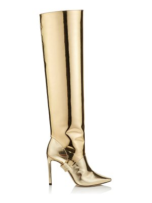 Jimmy Choo HURLEY 100 Gold Liquid Mirror Leather Two-Piece Knee High Booties