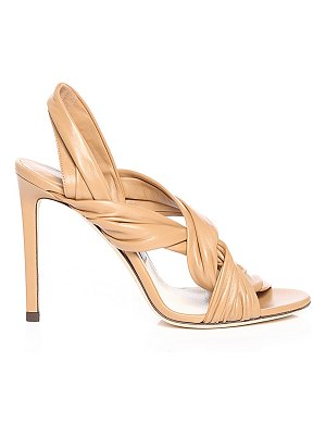 Jimmy Choo LALIA 100 Caramel Nappa Leather Heels with Intertwined Upper