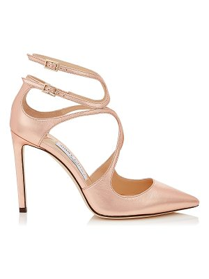 JIMMY CHOO Lancer 100 Tea Rose Metallic Leather Pointy Toe Pumps