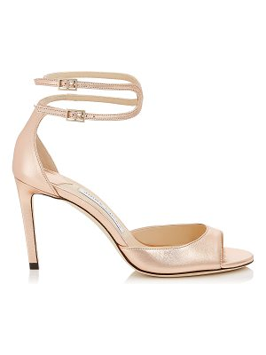 JIMMY CHOO Lane 85 Tea Rose Metallic Leather Sandals