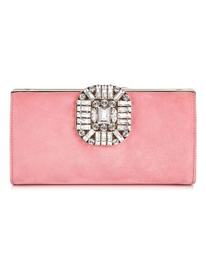 Jimmy Choo LEONIS Candyfloss Suede Clutch Bag with Snap Closure