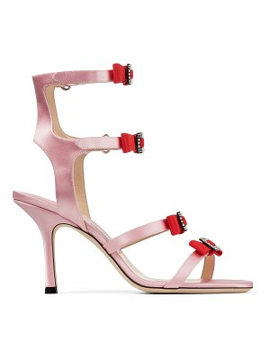 Jimmy Choo LETRICE 85 Pink Satin Strappy Sandals with Grossgrain and Crystal Bows