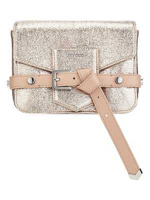 Jimmy Choo LEXIE/S Rose Gold Crinkled Coated Fabric Cross Body Bag