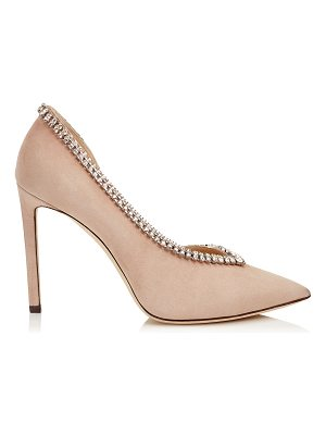Jimmy Choo LILIAN 100 Ballet Pink Suede Pointy Toe Pumps with Crystal Trim