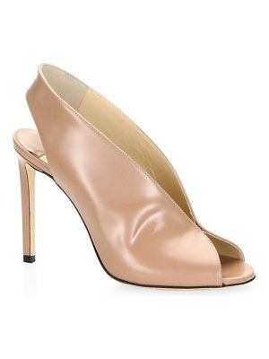 Jimmy Choo shar liquid leather peep-toe slingback pumps