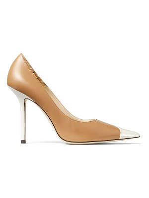 Jimmy Choo LOVE 100 Asymmetric Butter Rum and Latte Leather Pumps with Patent Detail