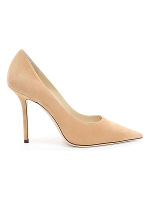 Jimmy Choo LOVE 100 Caramel Suede Pointy Toe Pumps
