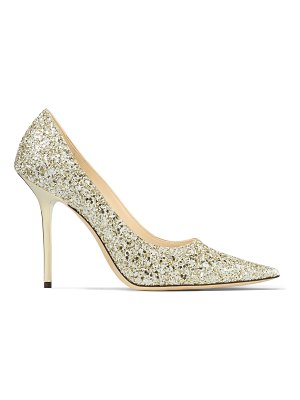 Jimmy Choo LOVE 100 Moon Sand Infinity Glitter Fabric Pointy Toe Pumps
