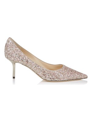Jimmy Choo LOVE 65 Rosewood Painted Glitter Fabric Pointy Toe Pumps