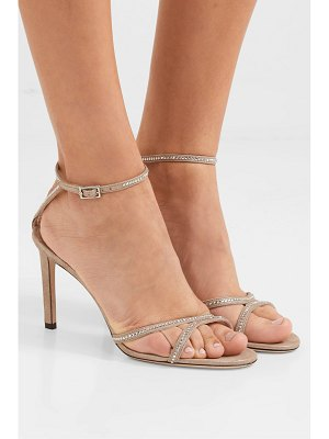 Jimmy Choo lydia 85 crystal-embellished metallic suede sandals