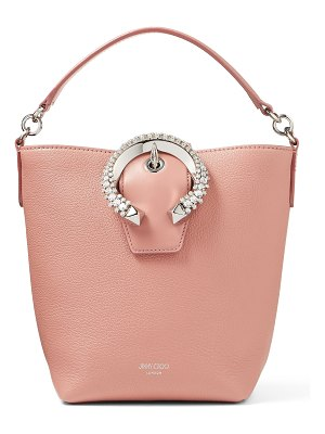 Jimmy Choo MADELINE BUCKET Blush Goat Calf Leather Bucket Bag with Crystal Buckle
