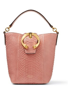Jimmy Choo MADELINE BUCKET Blush Python Bucket Bag with Metal Buckle