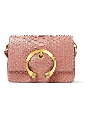 Jimmy Choo MADELINE SHOULDER/S Blush Snakeskin Shoulder Bag with Metal Buckle