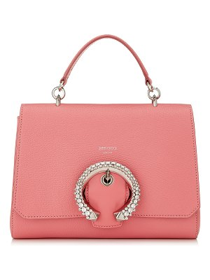 Jimmy Choo MADELINE TOPHANDLE Candyfloss Calf Leather Top Handle Bag with Crystal Buckle