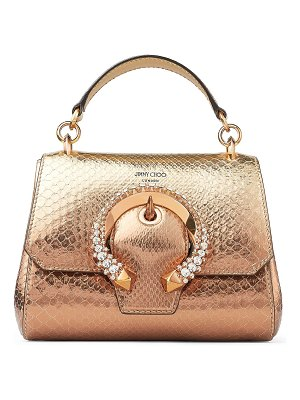 Jimmy Choo MADELINE TOP HANDLE/S Metallic Dégradé Python Top Handle Bag with Crystal Buckle