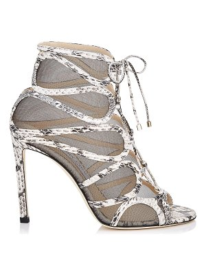 Jimmy Choo MALENA 100 Natual Elaphe and Smoke Mesh Sandals