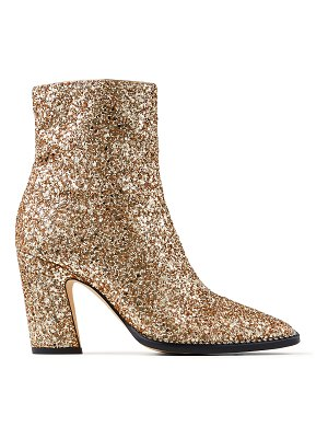 Jimmy Choo MAVIN 85 Metallic Gold Glitter Fabric Block Heel Ankle Boots