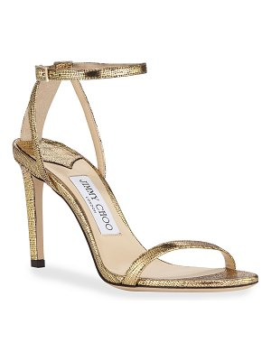 Jimmy Choo Metallic Textured Ankle Sandals