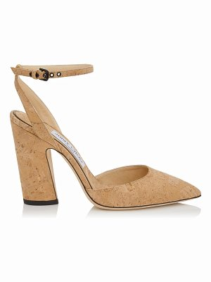 JIMMY CHOO Micky 100 Nude Cork Pointy Toe Pumps