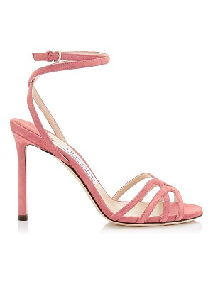 Jimmy Choo MIMI 100 Candyfloss Suede Wrap Around Sandal