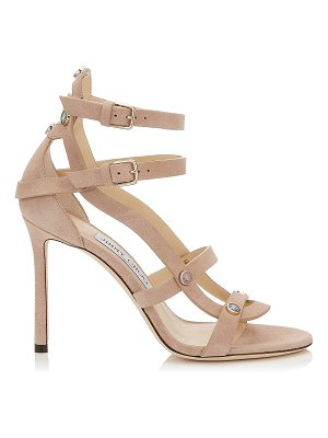 JIMMY CHOO Motoko 100 Ballet Pink Suede Sandals With Stone Effect Studs