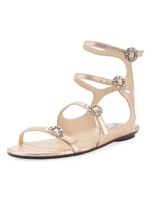 Jimmy Choo Naia Metallic Flat Sandal with Crystal Buckles